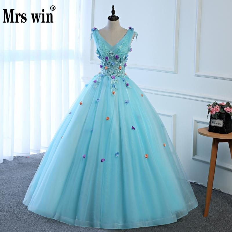 Luxury New Shining Light Sky Blue Tulle Cheap Masquerade Dress Vestido Debutante Applique Quinceanera Dress Vestidos De 15 Anos