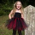 Preto e Vermelho Inspirado Vampiro Traje Tutu Vestido Da Menina Das Crianças Crianças Halloween Costume Meninas Tutu Vestido de Festa Fotografia
