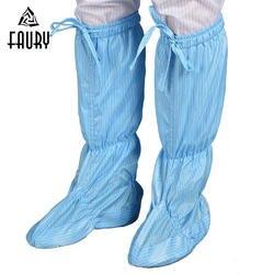 Обувь с мягкой подошвой, без пыли, белые, синие высокие сапоги, чистая обувь, дышащая обувь для мастерской, Антистатическая обувь, длинные