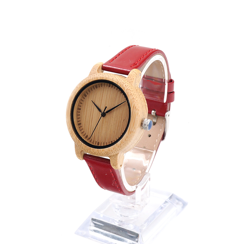 ФОТО BOBO BIRD J09 Simple Style Bamboo Women Watch Dial  Red PU Leather Band Quartz Watches Relojes mujer Accept OEM