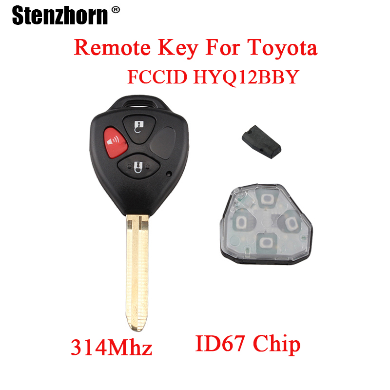Stenzhorn 3Buttons 4D67 chip Complete Remote Key For Toyota Rav4 2006 2007 2008 2009 2010 Original keys For Toyota HYQ12BBY obdstar f101 for toyota pin code and key programming support g 4d chip immo reset tool for toyota auto keys and smart keys