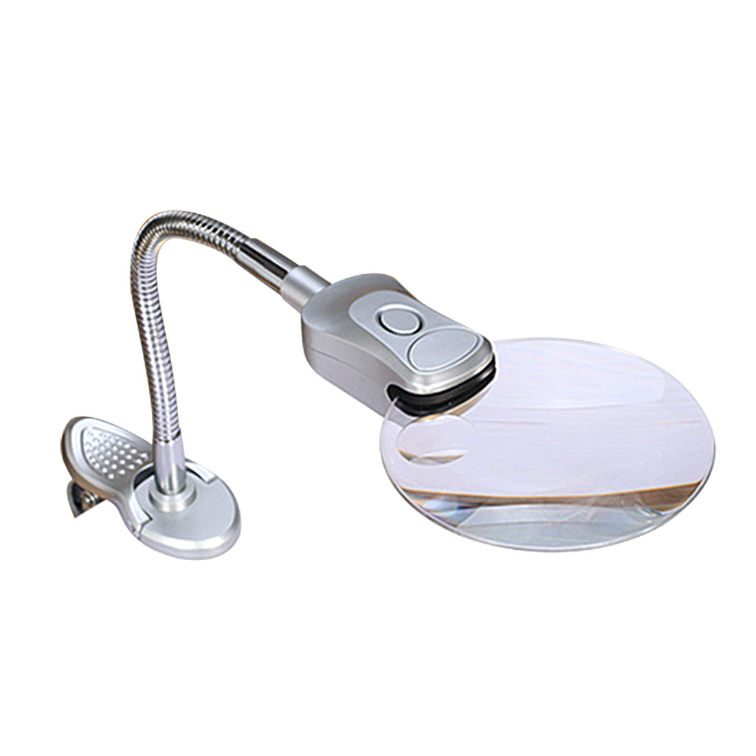Clip-on Desk Table Magnifying Glass 90mm With 2 LED Table Magnifier Lamp Magnifier