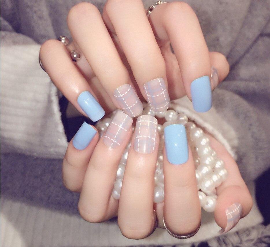 Full color nail art - New 24pcs Set Fake Nails Japanese Cute False Nails Kit Acrylic Short Size Full Nail