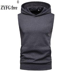 ZYFG Бесплатная брендовая одежда, мужская футболка с ромбовидным узором, Повседневная футболка с капюшоном, летние футболки без рукавов с карманом