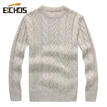 Men Knit Sweater Thick Winter Pullover Men's Fashion Warm Cotton Woolen Pullovers O Neck White Jacquard Sweaters Sweter Hombre