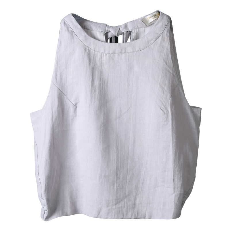 Ael cotton vest ladies 캐주얼 탑 2019 여름 루스 여성 탑 신축성 허리 매듭 타입 미니멀리즘 리넨