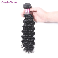 Lynlyshan Indian Deep Wave Hair Bundle 100% Human Hair 12 30 inch Natural Black Color Remy Hair Weaves Extension Free Shipping