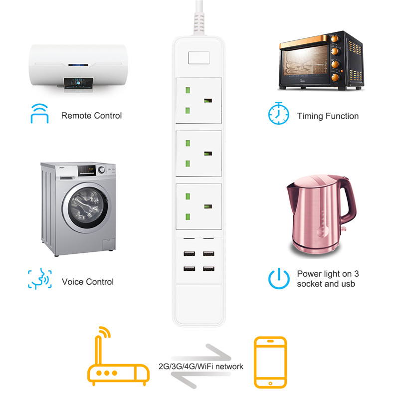 Smart Wifi Power Strip WiFi Socket Remote Control 3 Outlet with 4 USB 5V/2.4A for Phone App Control