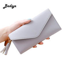 Popular Long Wallet Women Purses Tassel Fashion Coin Purse Card Holder Wallets Female Clutch Money Bag PU Leather Colors Wallet bvlriga women wallet nubuck leather long purses card holder women clutches fashion wallets money purses 2017 new clutches women