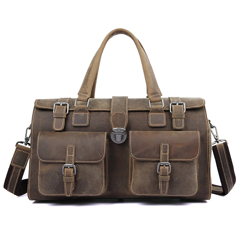 J.M.DJ.M.D Vintage Cow Leather Handbags Tote Travel Bags Luggage Bag Classic Travel Bag Casual Business Duffel Bag For Men 6001R bopai duffle bag lightweight luggage waterproof travel bags for men business best carry on luggage tote weekend travel bag