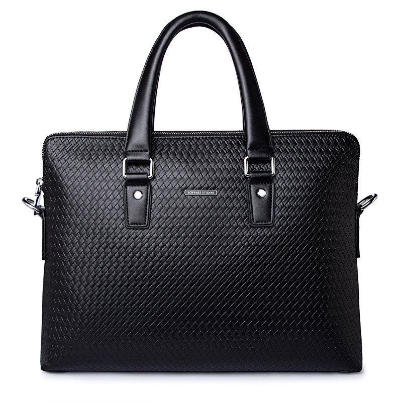 Luxury Woven Pattern Genuine Leather  Men Handbags Double Zipper Layers Shoulder Bag Casual Black Brown Business Briefcase