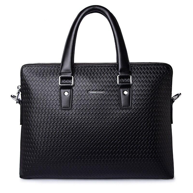 Patrón tejido de lujo de cuero genuino de los hombres bolsos de mano de doble cremallera capas de hombro Casual negro marrón Maletín de negocios