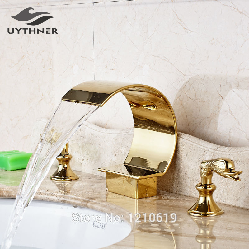 Uythner Newly Deck-mount 3Pcs Bathroom Basin Faucet Sink Mixer Tap Luxury Gold Plate Hot And Cold Water Faucet