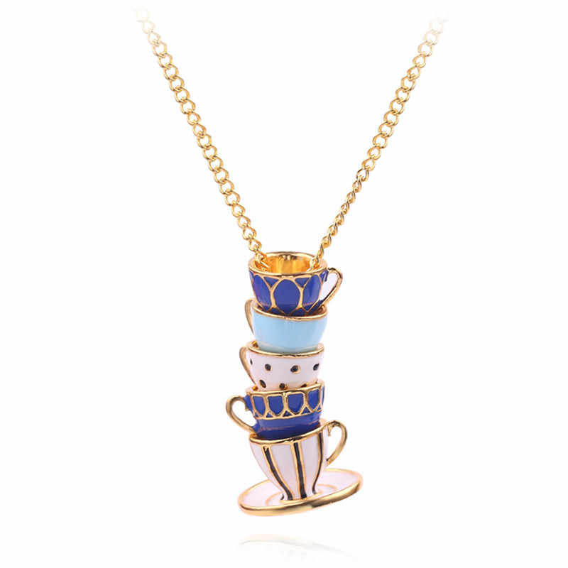 Tea Cups Stack Pendant Necklace Hand Made Sweater Chain Creative Stereoscopic Enamel Jewelry Long Necklace For Women Collar