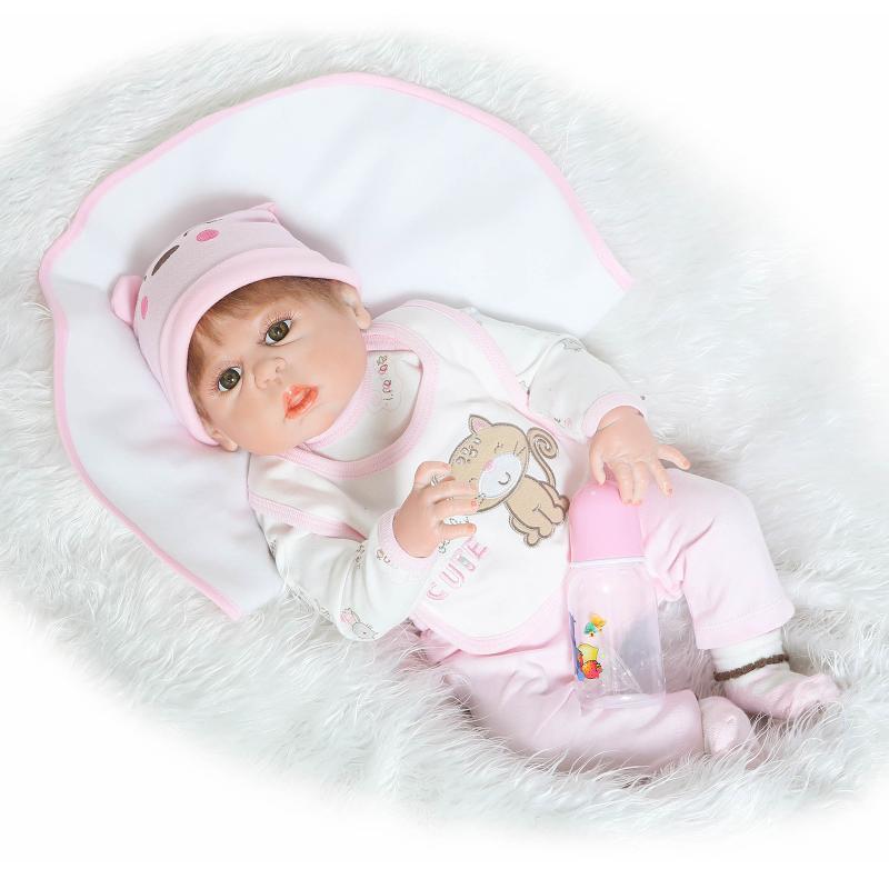 23 Inch/57cm Full silicone body reborn babies Girl Reborn dolls Girls Bath Lifelike Real Vinyl Bebe Brinquedos Reborn Bonecas