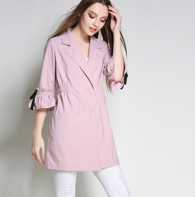 Spring plus size women clothing elegant trench coat female loose double breasted flare sleeve outwear casual outfit L-5XL 3088
