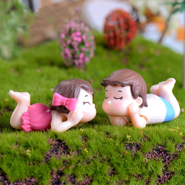 Lying Lover Figures Girl Boy Miniature Figurine Wedding Decoration Doll Fairy  Garden Statue Home Gift Moss