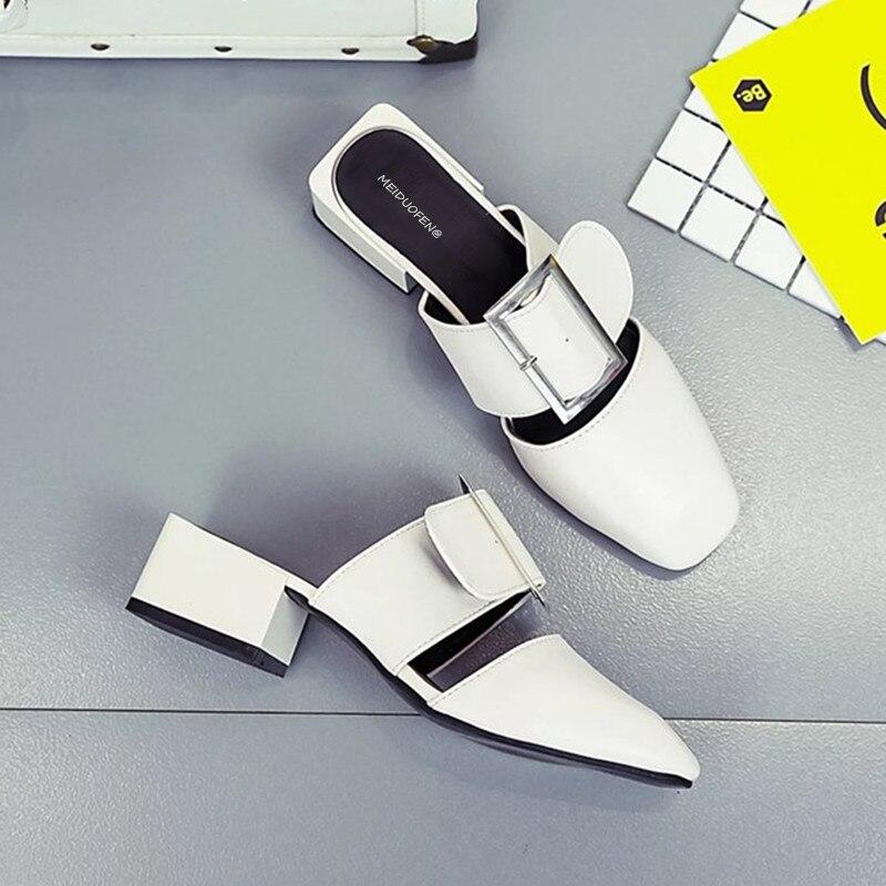Мода 2018 лето новый пряжки ремня низкий каблук Повседневная квадратный носок женские сабо обувь тапочки Открытый леди слайды пляжная обувь