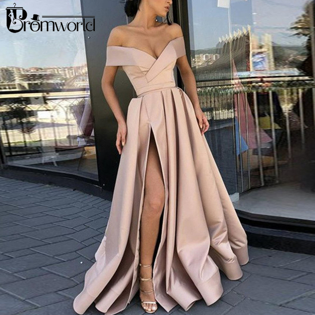 Red Prom Dresses 2019 Off the Shoulder High Slit Long Prom Gown with Pockets vestidos de fiesta largos elegantes de gala 2