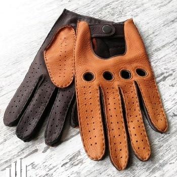male genuine deerskin leather mechanical gloves men winter leather gloves motorcycle leather gloves deer skin driver gloves