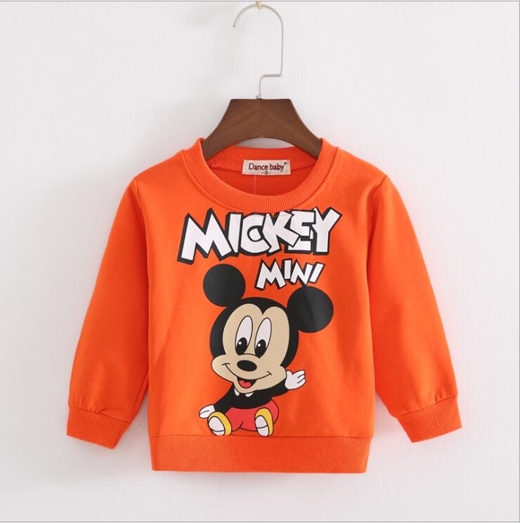 2017 Spring New Arrival Baby Kids boys Orange mickey leisure cartoon long sleeve T-shirt jerseys Boys clothes t shirt 6M-3 baby boy clothes 2018 new spring black letter long sleeve t shirt casual long pants 2pcs suit kids boys clothes for 3 12y q29