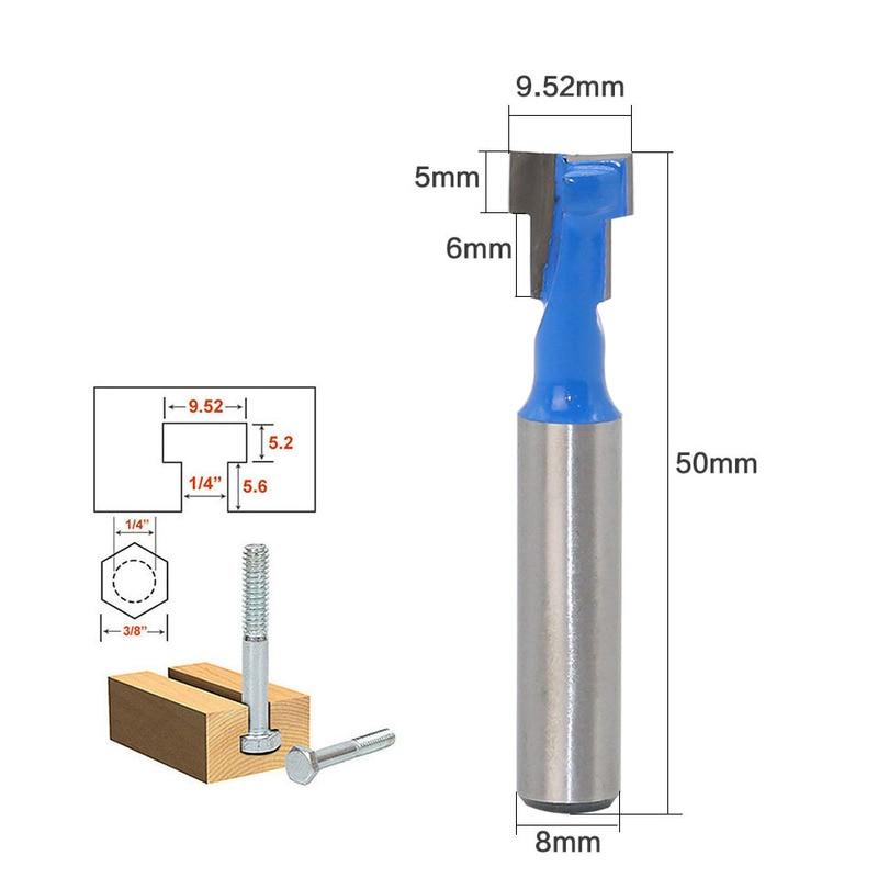 1Pcs 8mm Shank T-Slot Milling Cutters Router Bit Suit For 8*3/8