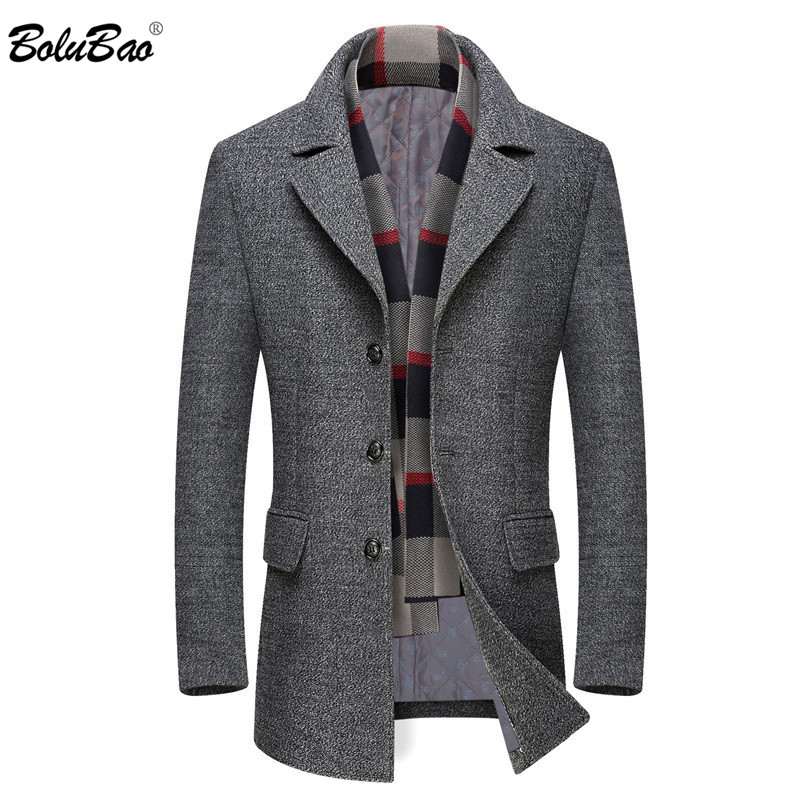 BOLUBAO Brand Men Wool Blends Coats Winter New High Quality Thick Warm Men's Wool Coats Male Luxurious Wool Blends Coat (Scarf)