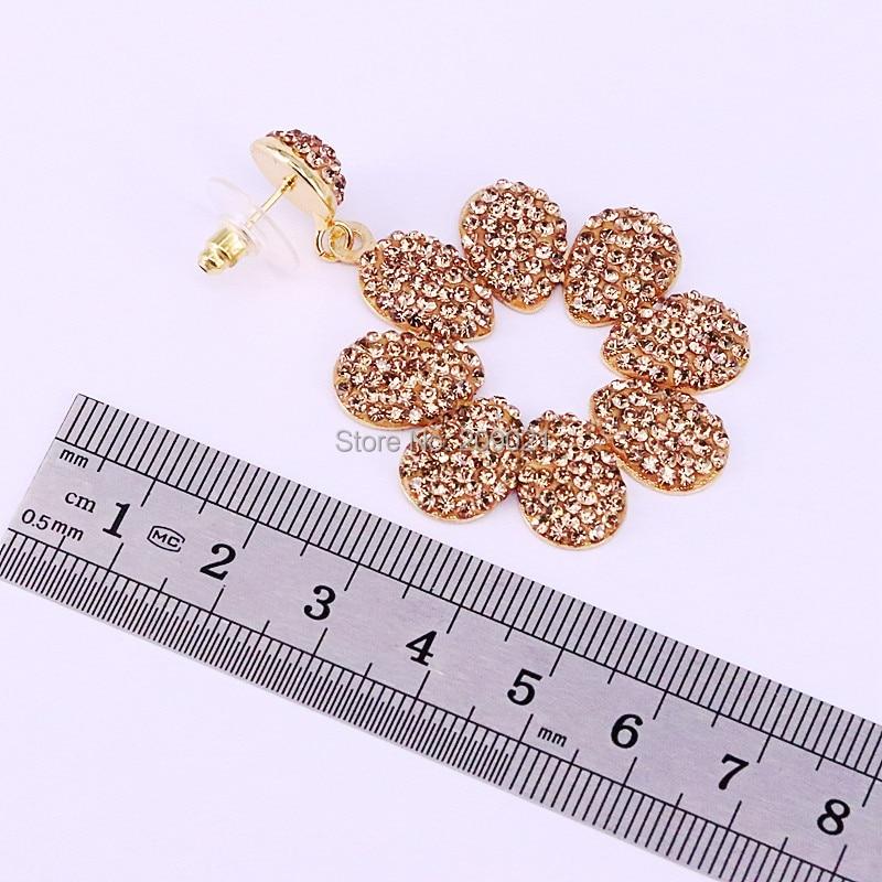 4Pairs Fashion Golden / Black Rhinestone Pave Metal Flower Charm Dangle Earrings Jewelry For Women
