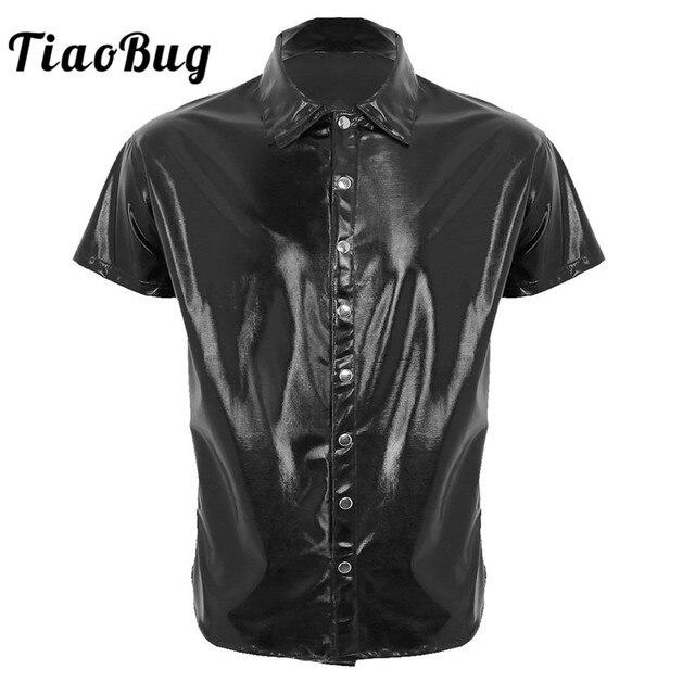 TiaoBug גברים שחור פטנט עור חולצה חולצות קצר שרוול עיתונות כפתור מזדמן חולצה מועדון לילה מסיבת שלב זכר סקסי תלבושות חולצות
