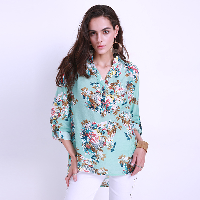Blusas Feminina Elegant Womens 2018 Summer Floral Printed Blouse Shirt For Women Clothes Long Sleeve Casual Tops Plus Size 5XL