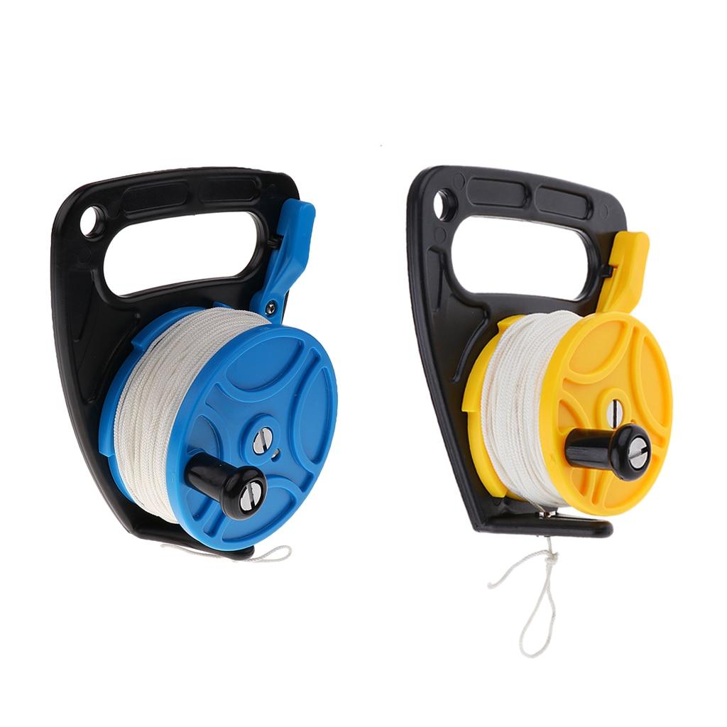 2Pcs Scuba Diving Cave Reel Guide Line Kayak Anchor Gear Equipment Accessories with Plastic Handle Line