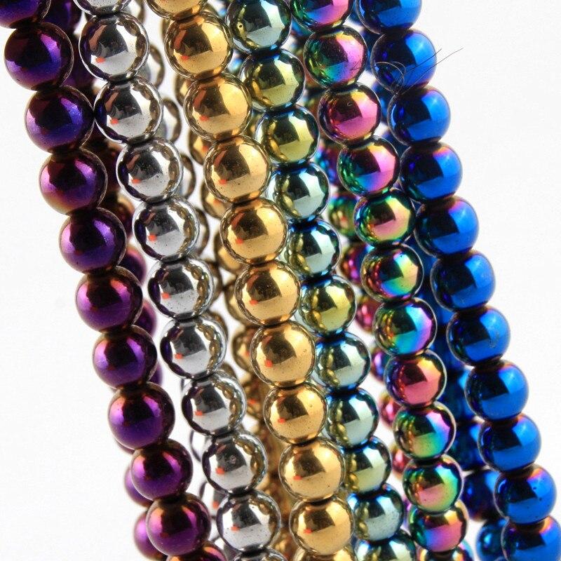 4 6 8 10 millimetri Perline di Pietra Naturale Allentati Ematite Branelli Rotondi del Distanziatore Per Monili Che Fanno FAI DA TE Braccialetto Della Collana 16