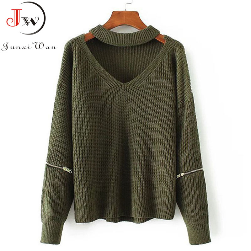 V Neck Knitted Sweater Autumn Winter Women Sexy Solid Casual Long Sleeve Zipper Pullovers Knitting Jumper Tops sueter feminino