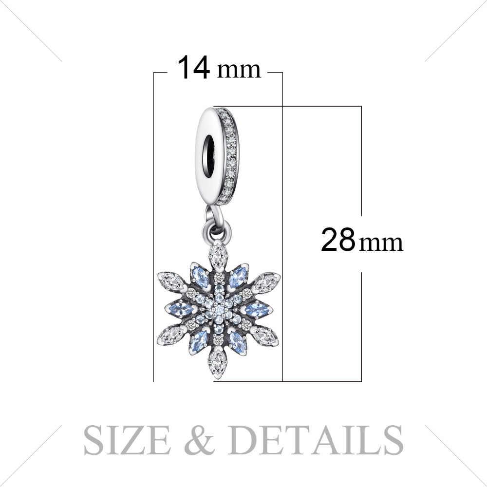 Jewelrypalace 925 เงินสเตอร์ลิง Froast ดอกไม้สร้าง Blue Nano Dangle ลูกปัด Charms Fit สร้อยข้อมือแฟชั่นเครื่องประดับ DIY ที่ไม่ซ้ำ