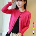 8 cores 2016 nova verão mulheres de manga comprida fina malha Cardigan primavera outono casacos de senhora casacos JN315