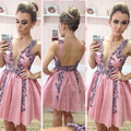 Hot Sale Cocktail Dresses  Deep V-Neck Pink Satin Applique Beaded Flowers Vestidos De Festa Backless Mi-Ni Party Gowns ZL1572