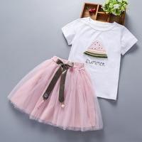 Girls Dresses 2018 Brand New Summer Children dresses White Watermelon Print Short Sleeve T Shirt+dress Kids Clothes 3 12 Y