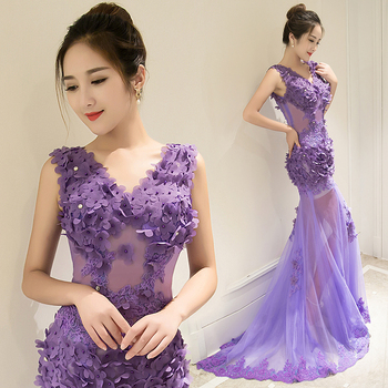 Sleeveless V-Neck Sexy Party Frock Dress Floor Length Illusion Mermaid Flower Lace Evening Dress aftenkjole free shipping 2020 sexy v neck sleeveless maxi dress sexy v neck solid color floor length party dress women satin dress ft5035