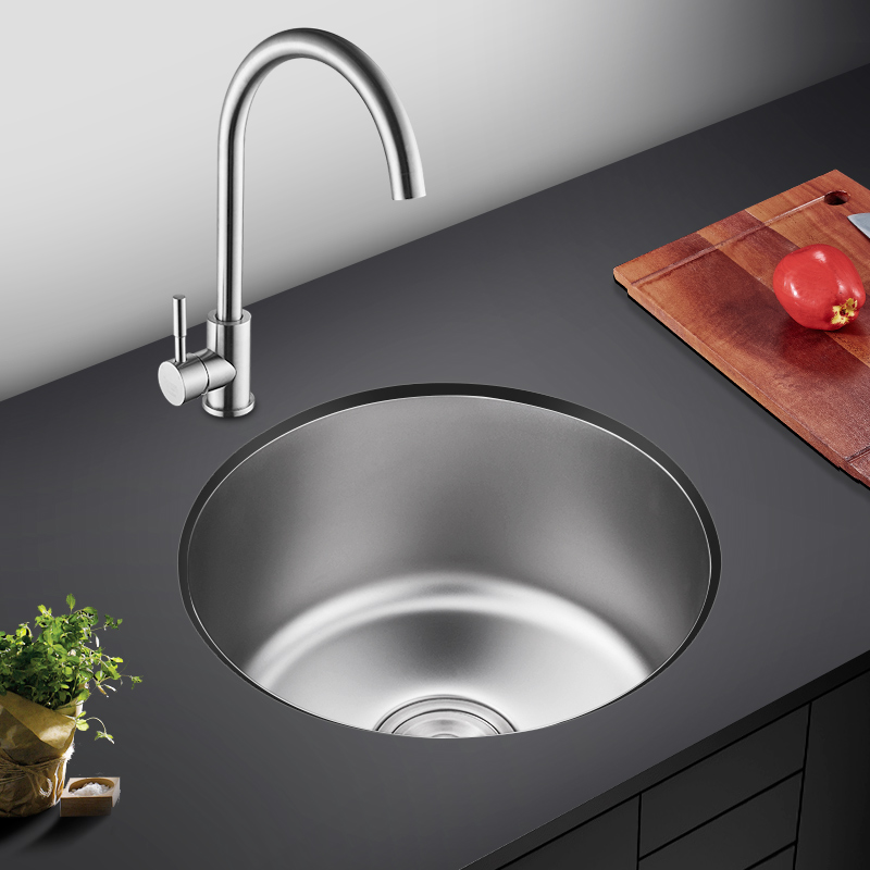 Kitchen Round Basin Mini Sink Small Single Slot 304 Stainless Steel Sink Balcony Bar LU4261