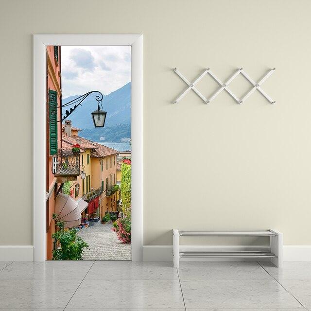 Creative DIY D Porte Murale Papier Peint Autocollant Vieille Ville - Papier peint porte