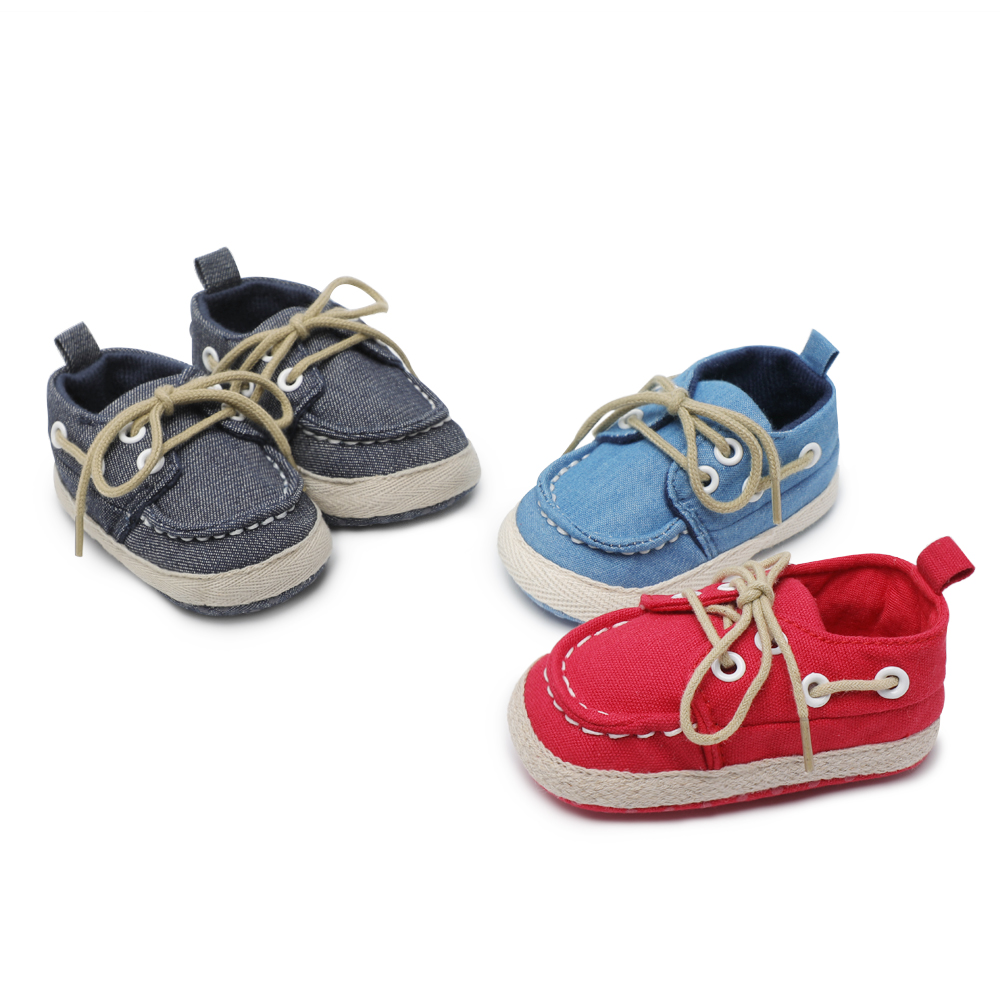 Newborn Crib Shoes Us 3 59 Baby Boy Girls Shoes Newborn Crib Shoes Fashion Canvas Casual Crib Shoes Lace Up Skid Proof Spring First Walker Booties In First Walkers