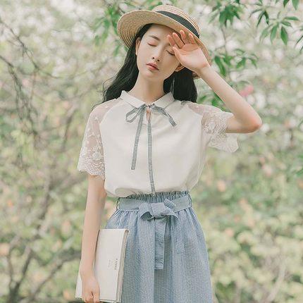 3XL 2XL femmes Blouses et hauts coréen en mousseline de soie solide chemises dames manches courtes hauts pour les femmes d'été vêtements pour femmes