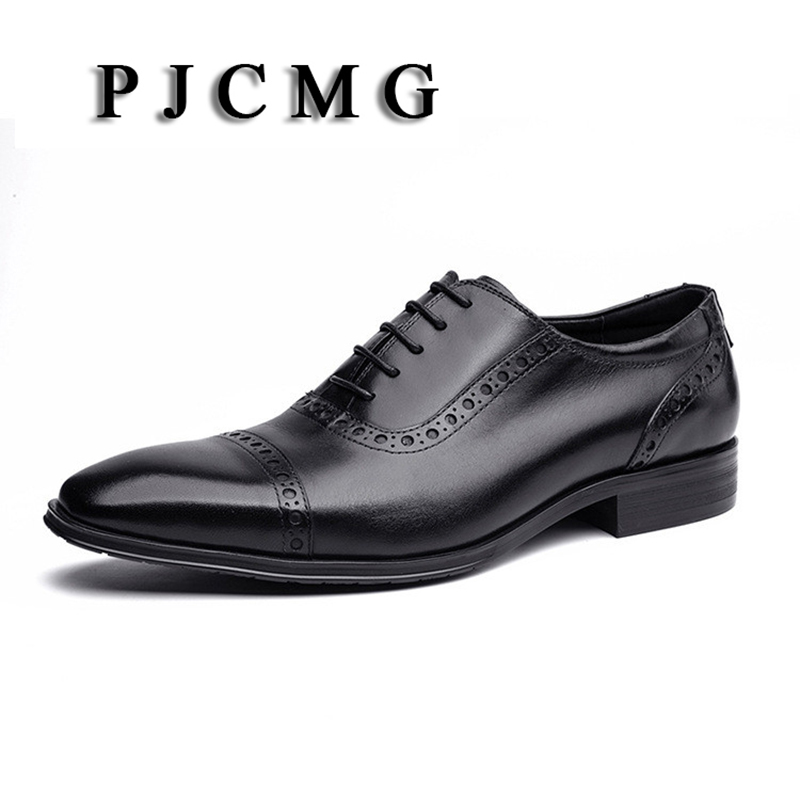 PJCMG Spring/Autumn New Products Fashion Breathable High Quality Genuine Leather Pointed Toe Lace-Up Oxford Dress Shoes For Men