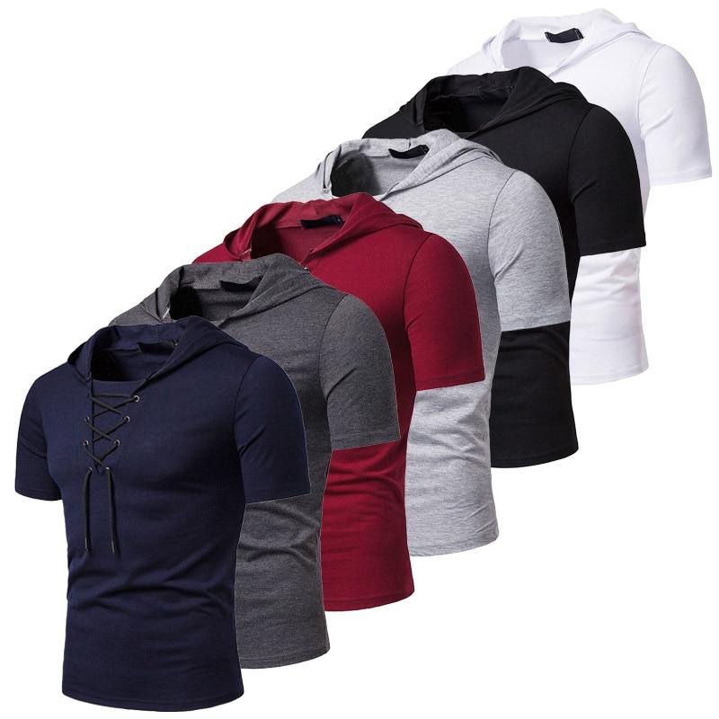 Hooded T Shirt Men 2019 New Short Sleeve Streetwear O Neck Mens Tshirts Summer Casual Slim Fit Hoody Tee Shirt Homme Top Tees