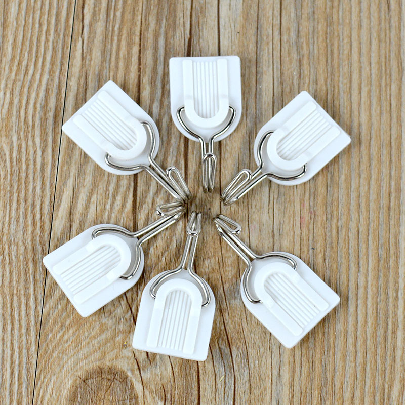6Pcs White Plastic Hook Family Wall Hanger Hats Bag Key Adhesive MAX 1.5Kg