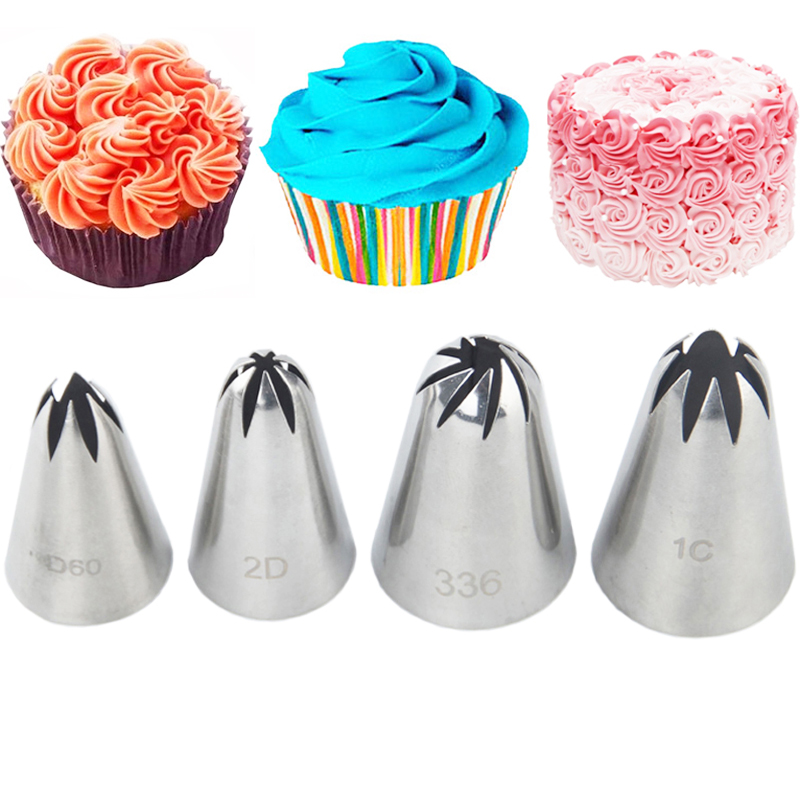 4pcs pastry tips cream stainless steel nozzle set piping icing cake decorating sugarcraft fondant tools
