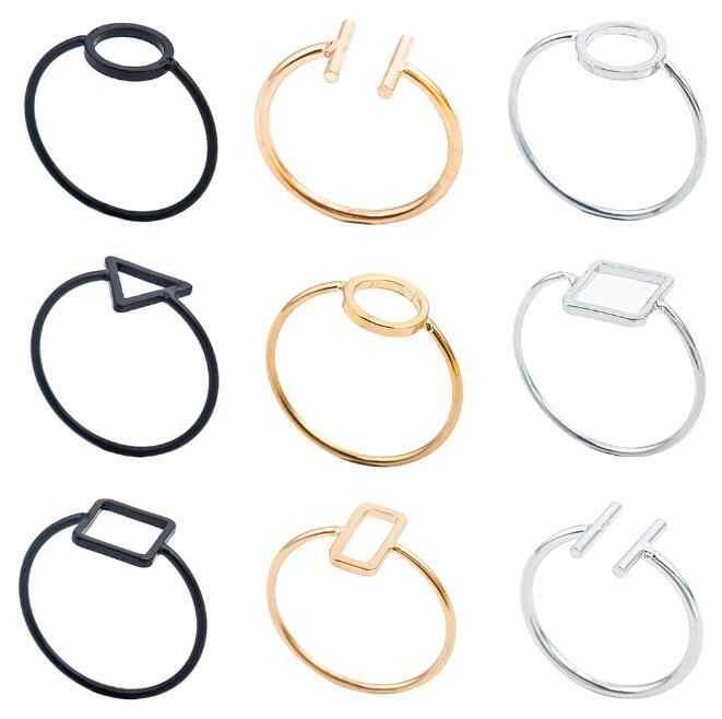 Europa e América Do Vintage design simples liga geométrico triângulo forma redonda praça anel unisex anel jóias acessórios