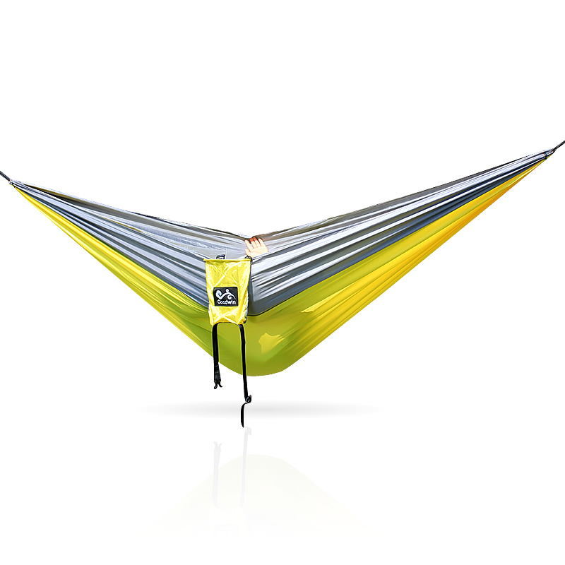 Portable Nylon Double Person Outdoor Hammock Parachute Fabric Hammock For Travel Hiking Backpacking Camping