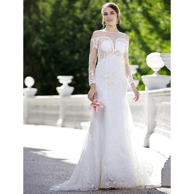 LAN TING BRIDE Mermaid Wedding Dress Trumpet Plunging Neckline Sweep ...