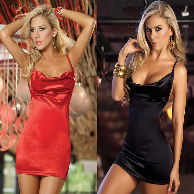 4af257bf381bd Sex Bar Low-cut Open Bra Backless Red Black Slip Satin Mini Dress Erotic  Bodycon